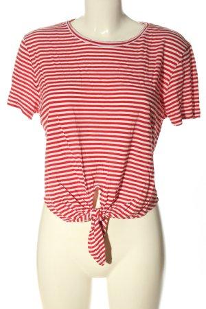 Monki Maglietta a righe rosso-bianco motivo a righe stile casual