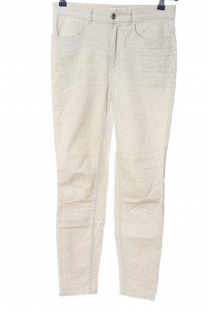 Monki Drainpipe Trousers cream abstract pattern casual look