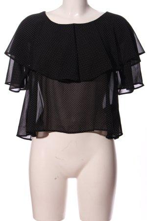 Monki Bluzka z falbankami czarny-biały Na całej powierzchni Elegancki