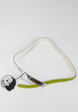 Monki Faux Leather Belt silver-colored-neon green imitation leather