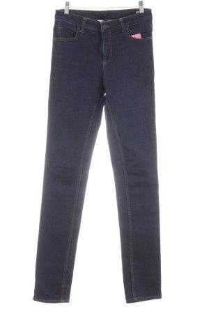 Monki Skinny Jeans dunkelblau Logo-Applikation aus Leder