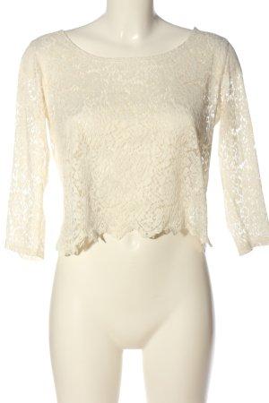 Monki Blusa de encaje blanco elegante