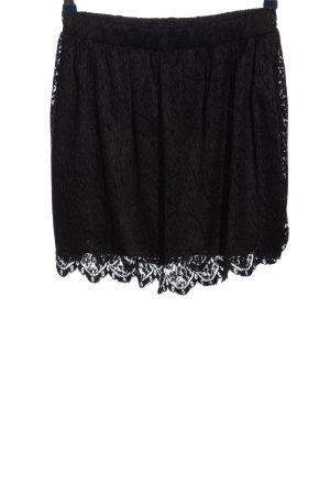 Monki Koronkowa spódnica czarny Wzór w kwiaty W stylu casual