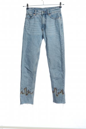 Monki Straight-Leg Jeans blau abstraktes Muster Casual-Look