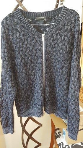 Monki Cárdigan de punto grueso azul oscuro-gris Algodón
