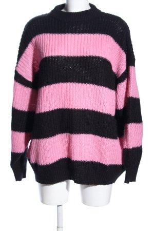 Monki Strickpullover schwarz-pink Streifenmuster Casual-Look