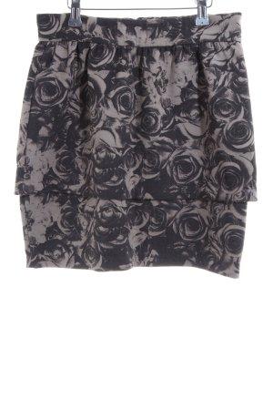 Monki Broomstick Skirt black-light grey flower pattern casual look
