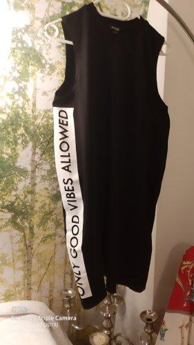 Monki Vestido de tela de sudadera blanco-negro