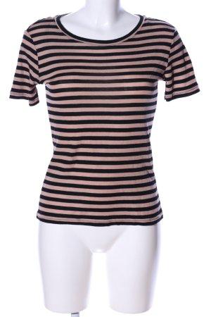 Monki T-Shirt schwarz-nude Streifenmuster Casual-Look