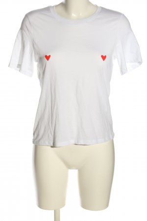 Monki T-Shirt weiß-rot abstraktes Muster Casual-Look