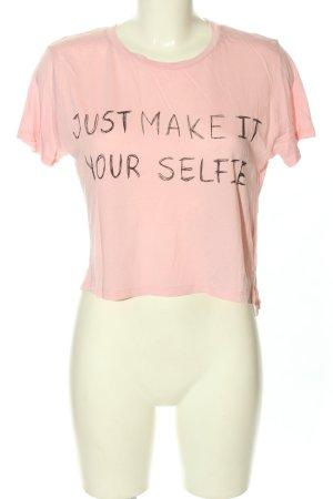 Monki T-Shirt pink-schwarz Schriftzug gedruckt Casual-Look
