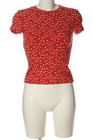 Monki T-shirt rouge-blanc cassé imprimé allover style décontracté