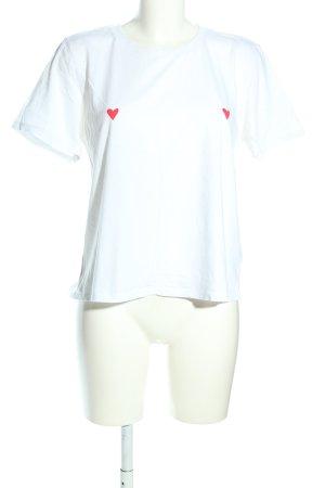 Monki T-Shirt weiß-rot Motivdruck Casual-Look