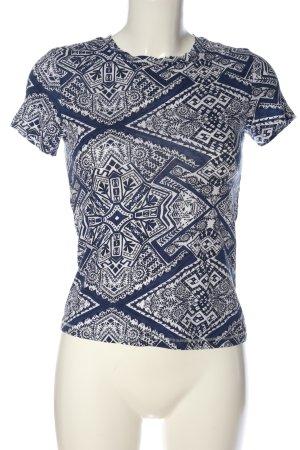 Monki T-Shirt blau-weiß grafisches Muster Casual-Look