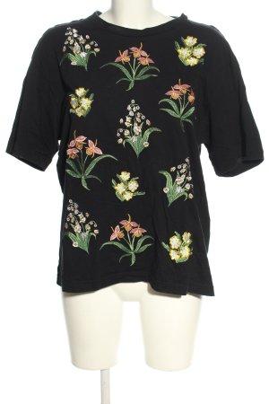 Monki T-Shirt schwarz-grün Blumenmuster Casual-Look