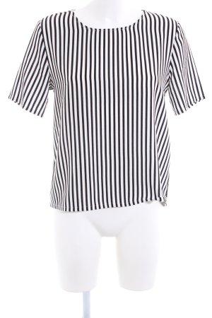 Monki T-Shirt weiß-schwarz Streifenmuster Casual-Look