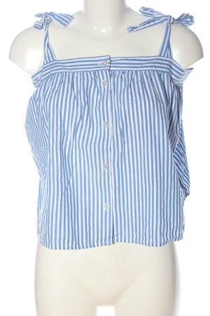 Monki Top met spaghettibandjes wit-blauw gestreept patroon elegant