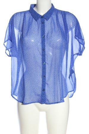 Monki Transparenz-Bluse blau-weiß Punktemuster Casual-Look