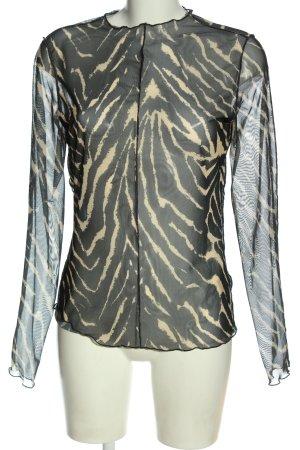 Monki Blusa transparente negro-crema estampado con diseño abstracto elegante