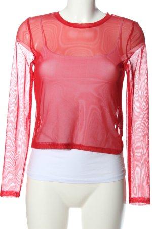 Monki Transparenz-Bluse rot extravaganter Stil