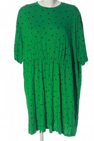 MONKL Kurzarmkleid grün-schwarz Allover-Druck Casual-Look