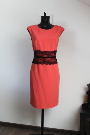 Monnari elegantes Kleid in Koral Spitze Schleifchen Gr 42 Neu vorzügliche Qualtät