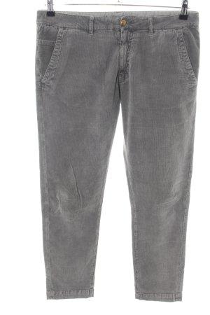 Monocrom Pantalon en velours côtelé gris clair style décontracté