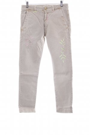Monocrom Five-Pocket-Hose beige florales Muster Gypsy-Look