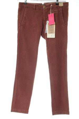 Monocrom Pantalon taille basse brun style d'affaires
