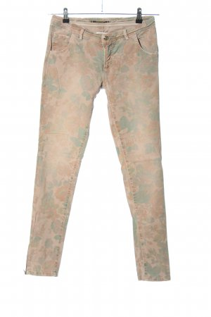Monocrom Skinny Jeans nude-grün Allover-Druck Casual-Look