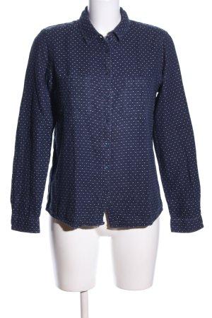 Monoprix Femme Langarmhemd blau-weiß Punktemuster Casual-Look