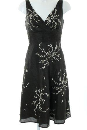 Monsoon A-Linien Kleid schwarz-weiß Blumenmuster Elegant