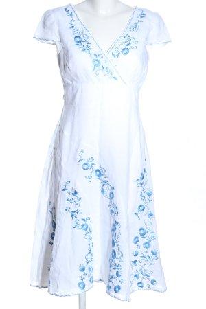 Monsoon Midikleid weiß-blau Blumenmuster Casual-Look