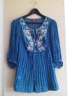 Monsoon Plissee Bluse mit Blumen-Paillettenstickerei aus 100% Seide, Größe M, neu