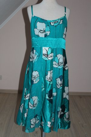 Monsoon Seide Cotton Kleid Trägerkleid  grün UK 12 EU 40 M L Seidenkleid Sommerkleid