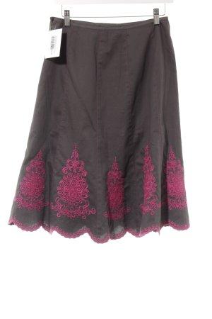 Monsoon Circle Skirt grey brown-magenta abstract pattern casual look