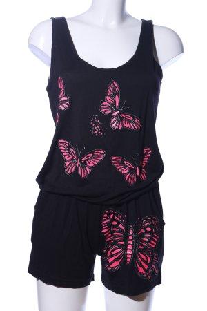 Montana Jumpsuit schwarz-pink Motivdruck Casual-Look