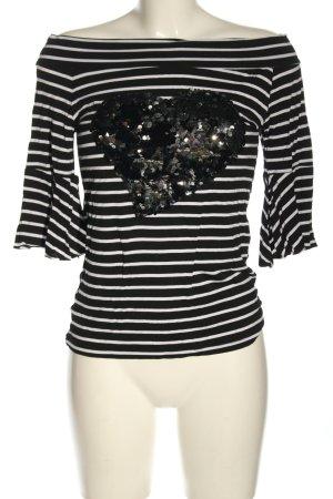 Monte Cervino Koszulka w paski czarny-biały Wzór w paski W stylu casual