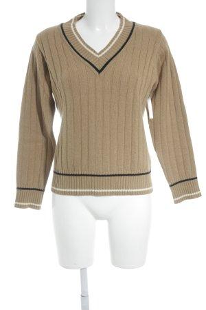 Monte Napoleone V-Ausschnitt-Pullover Streifenmuster klassischer Stil