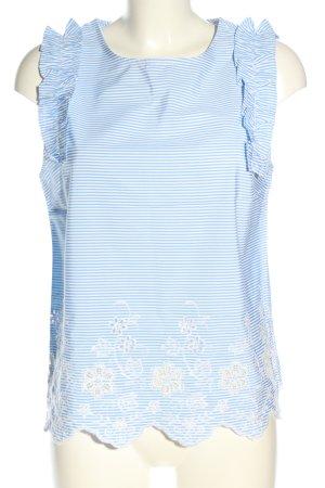 Monteau Los Angeles ärmellose Bluse blau-weiß Allover-Druck Casual-Look