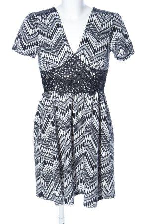 Monteau Los Angeles Kurzarmkleid weiß-schwarz Allover-Druck Casual-Look