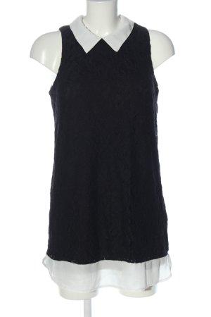 Monteau Los Angeles Long-Bluse schwarz-weiß Allover-Druck Casual-Look