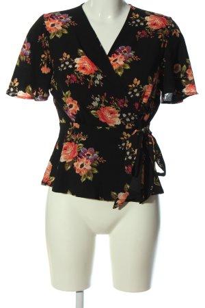 Monteau Los Angeles Kopertowa bluzka czarny-czerwony Wzór w kwiaty Elegancki