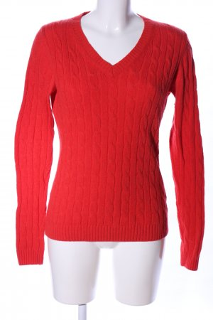 Montego Grobstrickpullover rot Zopfmuster Casual-Look