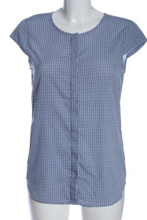 Montego Kurzarm-Bluse schwarz-weiß Allover-Druck Casual-Look