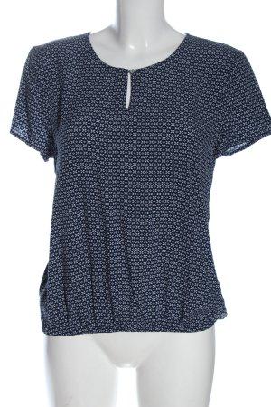 Montego Kurzarm-Bluse blau-weiß Allover-Druck Casual-Look