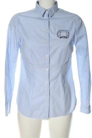 Montego Langarmhemd weiß-blau Allover-Druck Business-Look