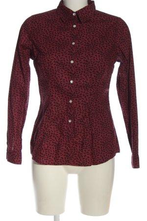 Montego Langarmhemd rot-schwarz Allover-Druck