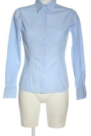 Montego Langarmhemd blau-weiß Allover-Druck Business-Look