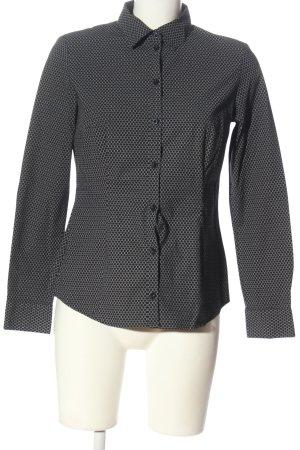 Montego Langarmhemd schwarz-wollweiß Allover-Druck Business-Look